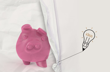 pencil lightbulb draw rope open wrinkled paper piggy pink