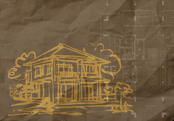 hand drawn house on wrinkled recycle paper background