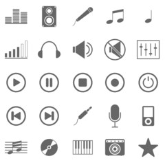 Music icons on white background