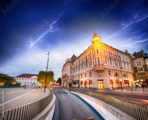 Main Square of Klagenfurt, Austria. Beautiful cityscape during a