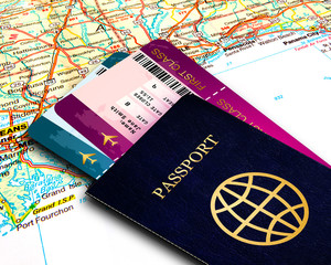 passport and fly tickets over map background