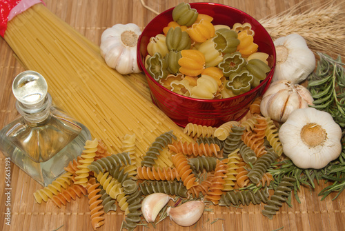 Pasta spaghetti with food ingredient and spices