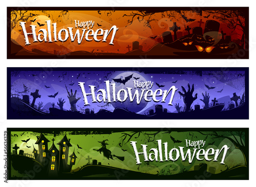 Cartoon halloween banners
