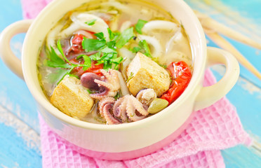 soup with noodles and seafood