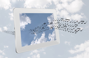 Music online download concept - technology, generic tablet