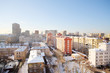 Houses in residential area at sunny winter day in Moscow