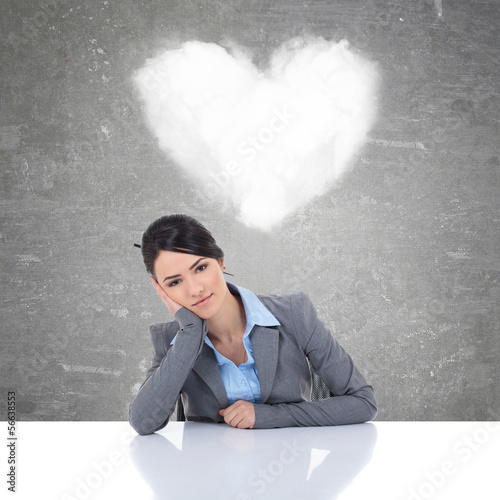 young business woman being in love