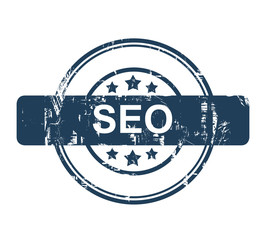Blue SEO stamp with stars