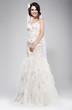 Happy Bride in Wedding Sleeveless Dress Smiling.