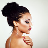 young mulatto fresh fashion woman with beautiful makeup