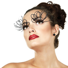 sexy fashion girl with decorative eyelashes and red lipstick