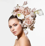 Fototapety Fashion Beauty Girl with Flowers Hair. Bride. Creative Hairstyle