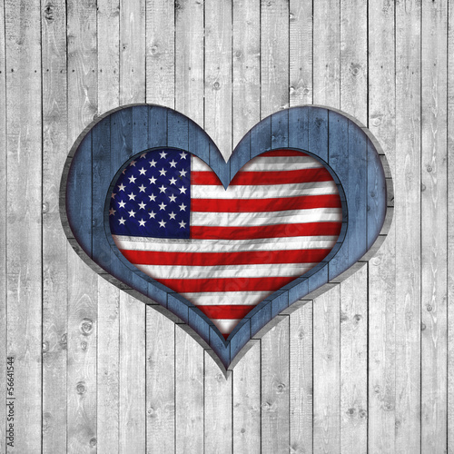 American flag background with heart