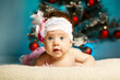 little cute baby with christmas tree