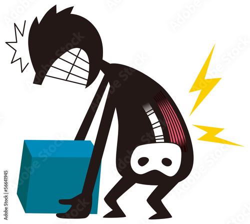 腰痛に苦しむ男性