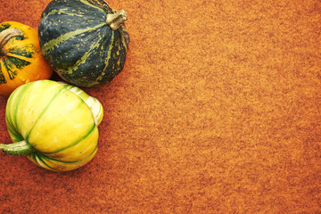 Decorative pumpkin isolated on brown background. Halloween and h
