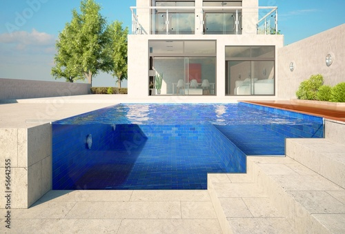 Pool with Glass Front