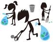 掃除をする子供達