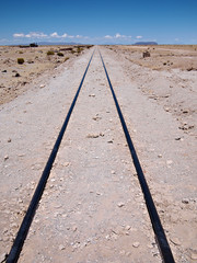 Railroad track leading nowhere
