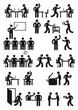 Büroarbeitsplatz und Geschäftsleute