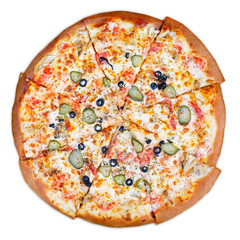 Delicious italian pizza isplated on white with clipping path