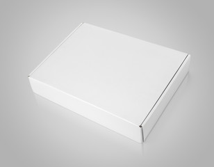 Closed blank carton box on gray with clipping path