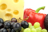 Cheese, red pepper and grapes on white background.