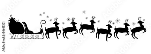 santas sleigh with 12 reindeer silhouette with no santa