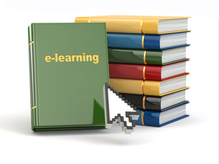 E-learning. Books and mouse cursor on white background.