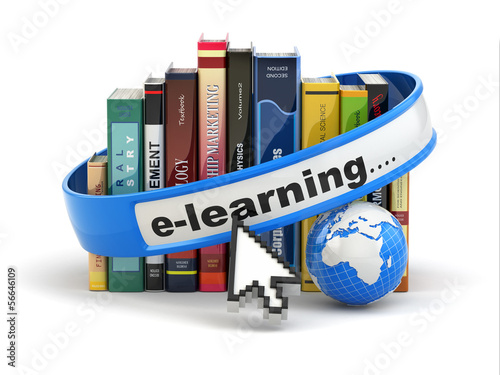 E-learning. Books and earth on white background.