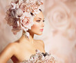 Fashion Beauty Model Girl with Flowers Hair. Bride