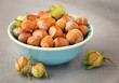 Hazelnuts with shell on the  table