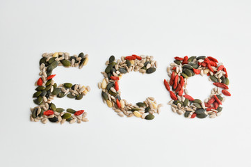 eco sign made from various seeds
