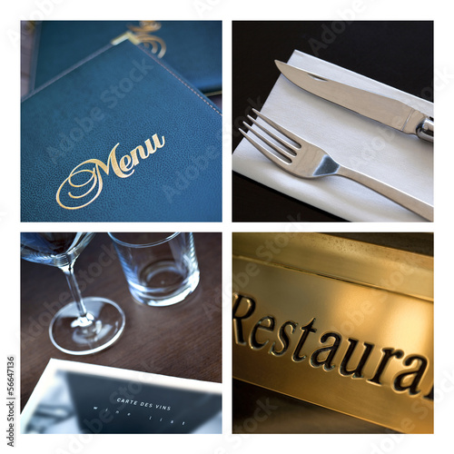 Restaurant, menu, soirée, carte, table, couverts, luxe