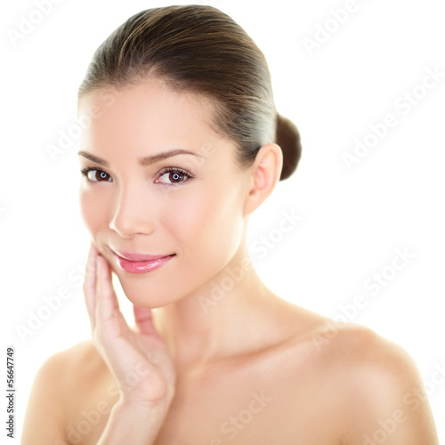 Asian beauty skincare woman touching skin on face