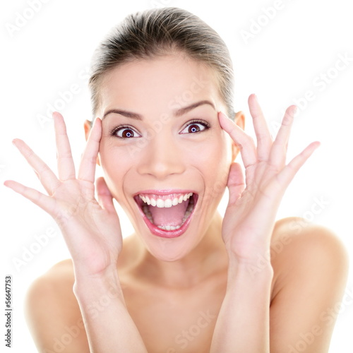 Beauty - happy funny Asian woman face expression
