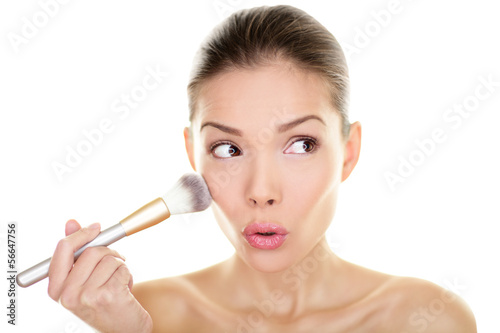 Makeup blush beauty woman looking funny away