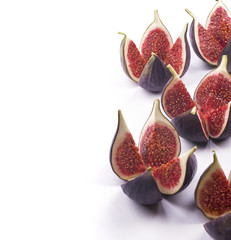 Five figs on white background