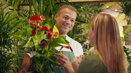 man in flower shop selling plant to customer