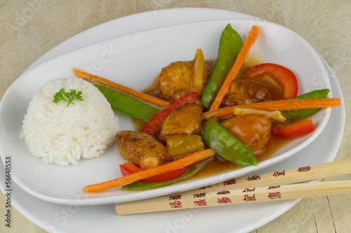 Hühnchen mit Gemüse und Reis
