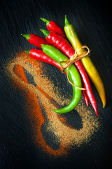 Colorful hot chili peppers on a chalkboard