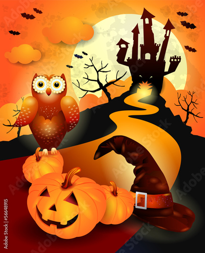 Halloween background in orange