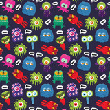 Vector seamless colorful pattern with funny cartoon monsters