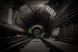 Underground tunnel with railroad track