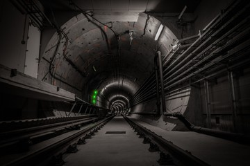 Underground tunnel with railroad track