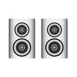 twin silver loudspeaker on white, vector illustration