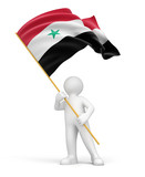 Man and Syrian flag (clipping path included)