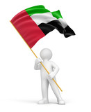Man and United Arab Emirates flag (clipping path included)