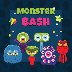 Vector monster party card
