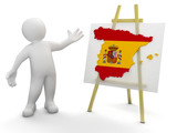 Man and Spanish map (clipping path included)